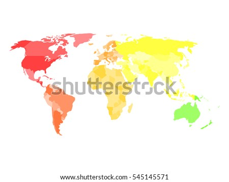 Blank simplified political map world different stock vector hd blank simplified political map of world with different colors of each continent north america gumiabroncs Image collections