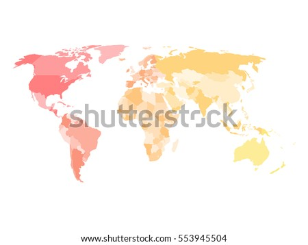 Blank Simplified Political Map Of World With Different Colors Of Each Continent North America