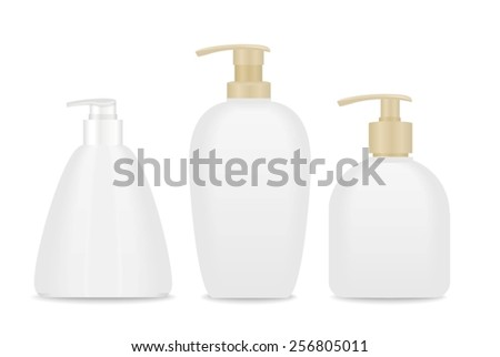 Blank soap and cream packages. Ready for your design. White and beige colors. Vector - stock vector