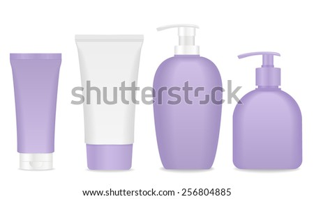 Blank soap and cream packages. White and violet colors. Vector - stock vector