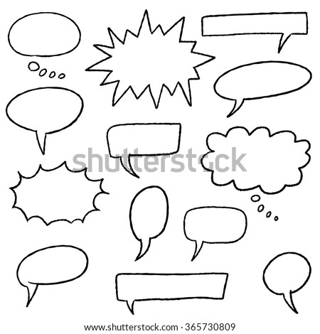Blank speech bubbles - cartoon style illustration set. - stock vector