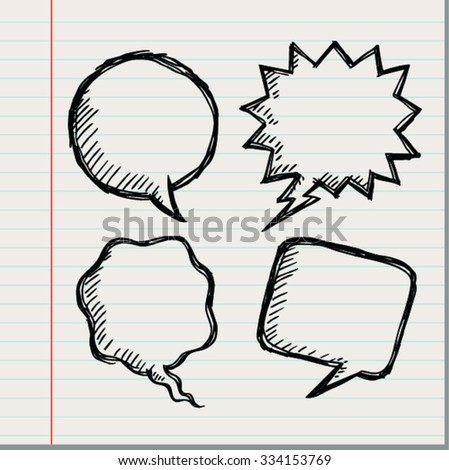 Blank speech bubbles. Doodle design style - stock vector