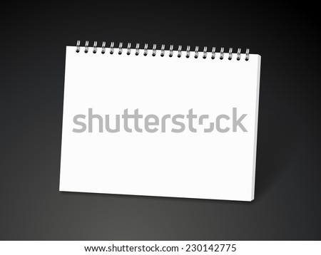 blank spiral notebook isolated on black background - stock vector