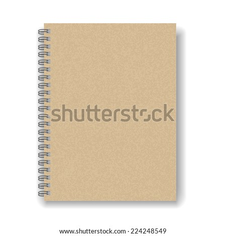 blank spiral notebook isolated on white background - stock vector