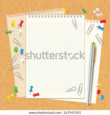 Blank spiral notebook on cork board. Pen, paper clips and buttons. Top view. Vector illustration. Set - stock vector