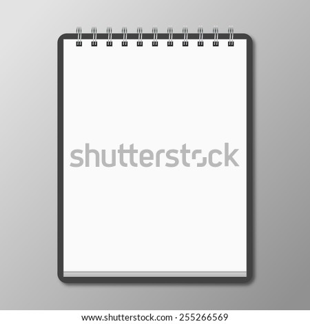 Blank spiral notebook on white background with soft shadows. Vec - stock vector