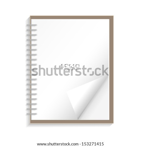 Blank spiral notepad notebook with corner fold on white background - Vector illustration - stock vector