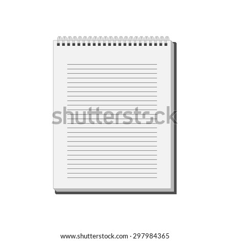 Blank spiral Notepad Notebook with white lined pages. Vector Illustration - stock vector