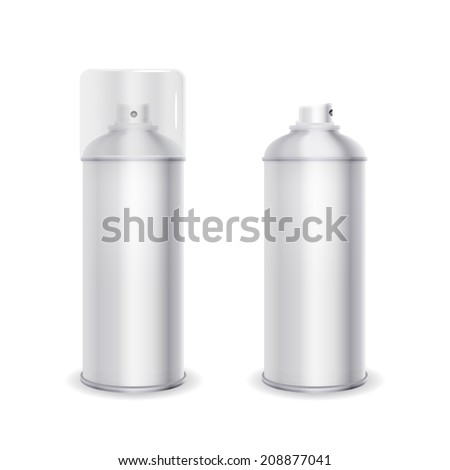Blank spray can template with transparent cap, vector illustration - stock vector