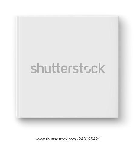 Blank square hardcover album template on white background Vector illustration. - stock vector