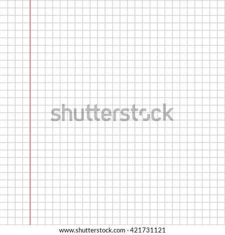Blank squared paper sheet vector background.