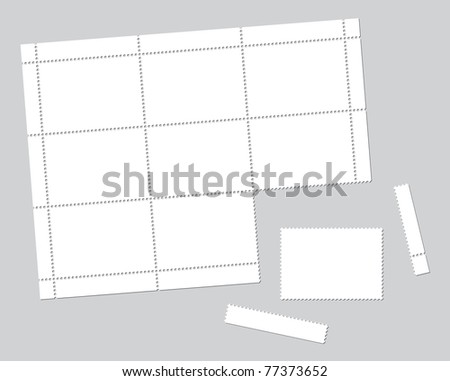 Blank stamps set on grey background