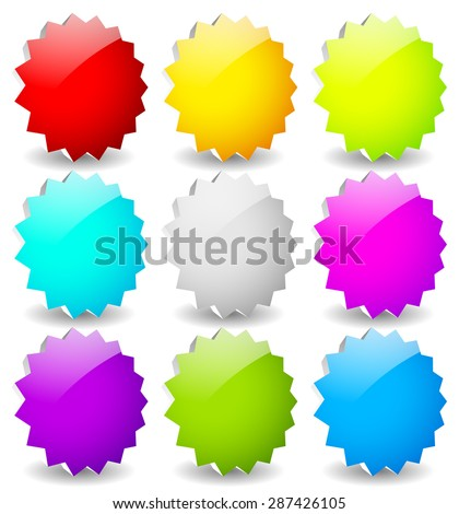 Blank starburst shapes, price flashes. Set of 9 colors. 3d. - stock vector