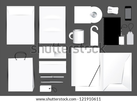 Blank stationery design set in editable vector format - stock vector