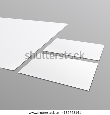 Blank stationery layout^ A4 paper, business card isolated on gray background. Vector illustration. EPS10. - stock vector