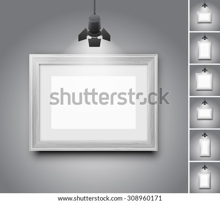 Blank studio wall and white wooden picture frame under light lamp - set of realistic vector illustrations - stock vector