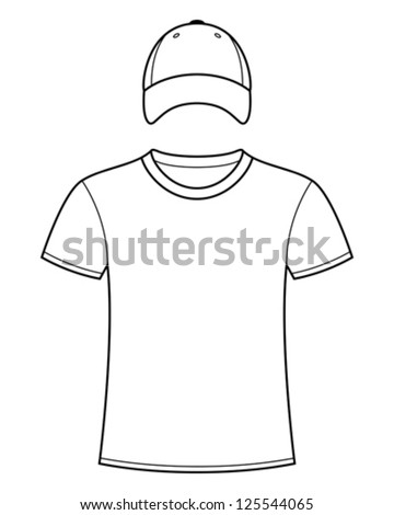 Blank t-shirt and cap template - stock vector
