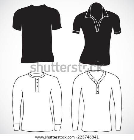Blank t-shirt and long sleeve template. Front and back