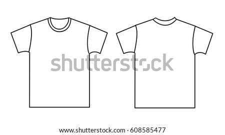 Blank Tshirt Template Front Back Stock Vector 608585477 - Shutterstock