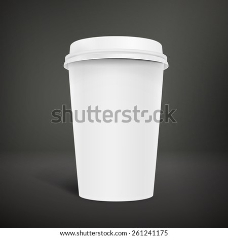 blank take-out coffee cup isolated on black background - stock vector