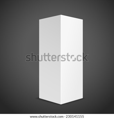 blank tall box isolated on black background  - stock vector