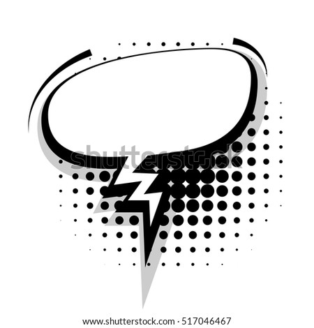 Blank Template Comic Text Speech Oval Empty Bubble Halftone Dot Background Style Pop Art Creative
