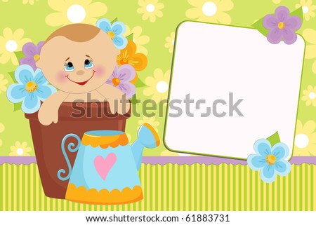 Blank template for baby's greetings card or photo frame (EPS10)