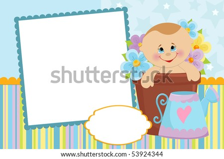 Blank template for baby's greetings card or photo frame in blue colors (EPS10)