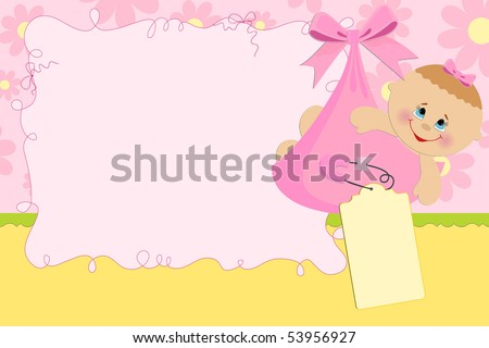 Blank template for baby's greetings card or photo frame in pink colors (EPS10)
