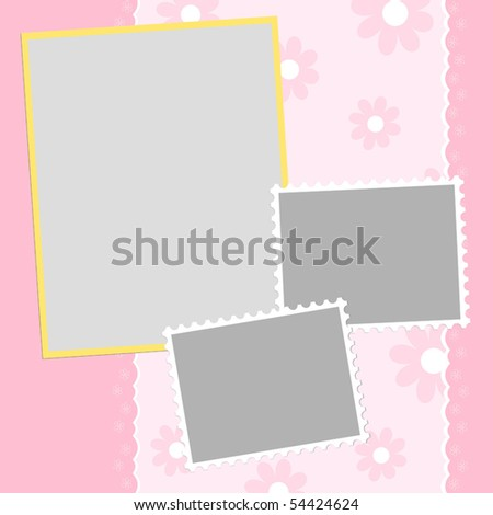 Blank template for greetings card or photo frame in pink colors (EPS10)