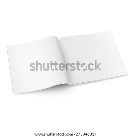 Blank template of square opened magazine on white background with soft shadows. Vector illustration.  - stock vector
