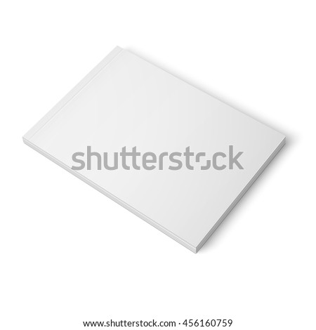 Blank template of thick closed magazine on white background. Wide format. Vector illustration. Ready for your design.