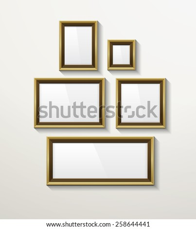 Blank template photo frames on the wall, isolated, with shadows. eps10 vector. - stock vector