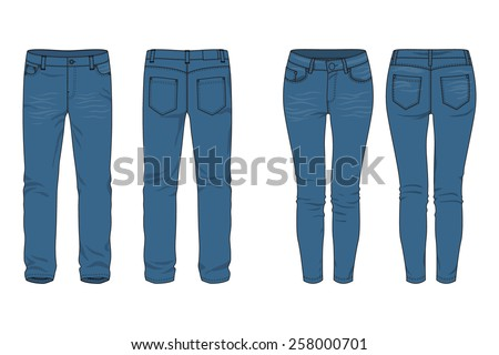 Blank templates of men's and women's jeans in front, back and side views. Vector illustration. Isolated on white. Casual style. Vector illustration for your fashion design.  - stock vector