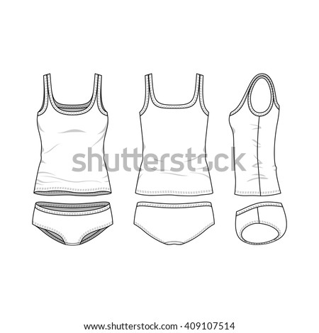 Blank Templates Of Womenu0027s Clothing Set. Front, Back And Side Views Of Top  And