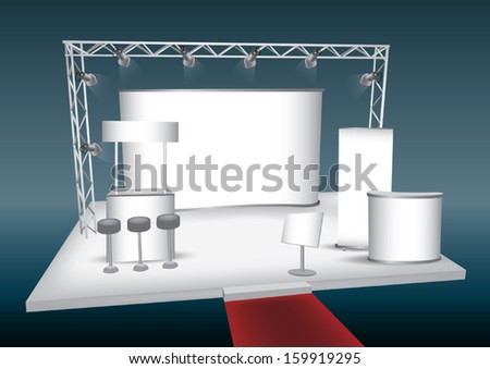 Blank trade exhibition display with roll-up,backdrop, shelter display - stock vector