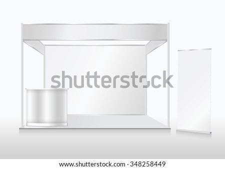 Blank trade show booth mock up. Front view. Vector isolated on white background.ai - stock vector