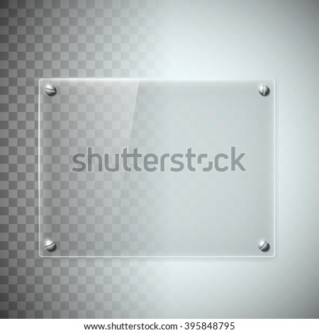 Blank transparent glass plate. Texture of plastic material. Stock vector illustration. - stock vector