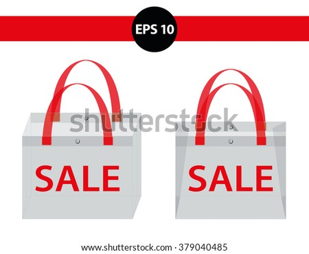 Blank  transparent plastic bag. Vector - stock vector