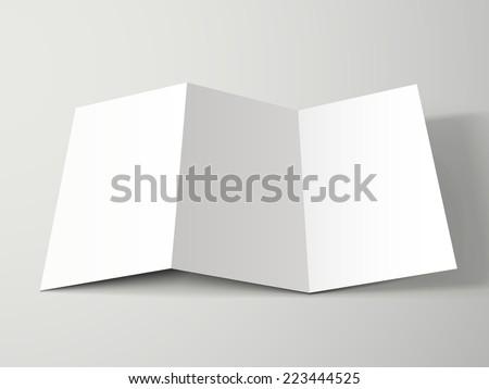 blank tri-fold brochure design isolated on grey   - stock vector
