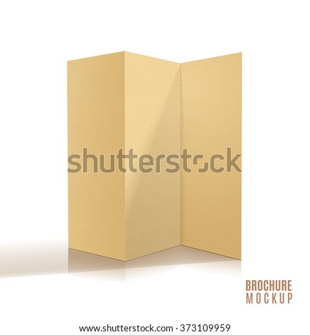 Blank tri-fold brochure design isolated. Paper craft. - stock vector