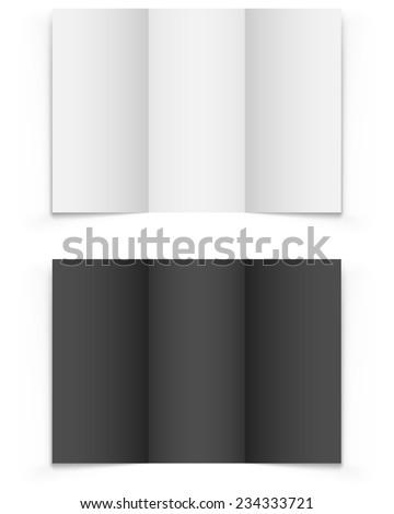 Blank tri-fold brochure vector template isolated on white background. - stock vector