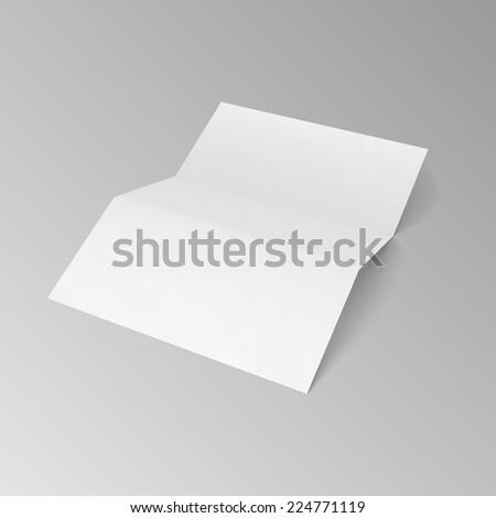 Blank trifold paper brochure.  Vector illustration EPS10. - stock vector