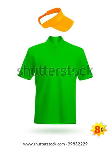 Blank uniform design template: t-shirt and visor. - stock vector