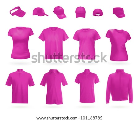 Blank uniform: polo shirts, t-shirts, hoodie and caps. - stock vector