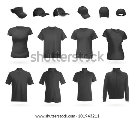 Blank uniform: polo shirts, t-shirts, hoodie and hats. - stock vector
