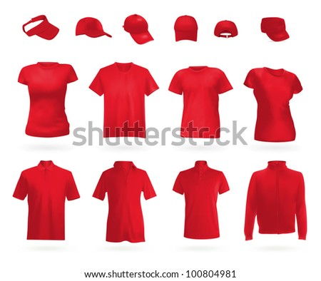 Blank uniform set: polo shirts, t-shirts, hoodie and caps. - stock vector