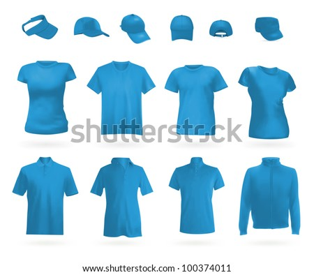 Blank uniform template: polo shirts, t-shirts, hoodie and caps. - stock vector