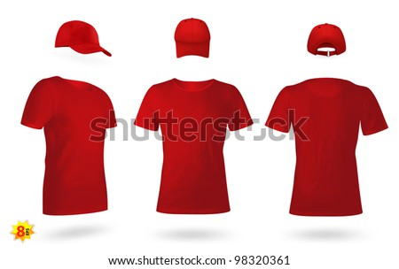 Blank uniform template set: t-shirts and a cap - stock vector