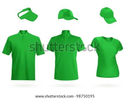 Blank unisex uniform template: polo, t-shirt, visor and baseball caps. - stock vector